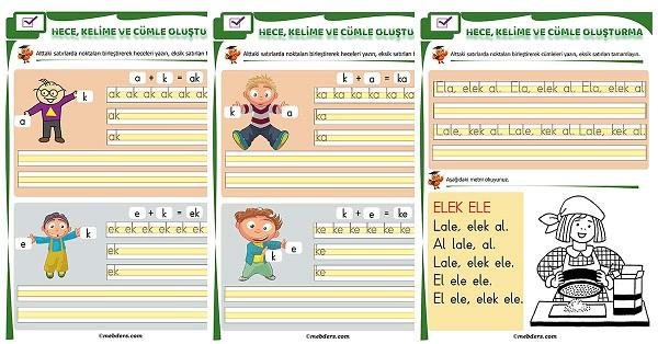 1.Sınıf İlk Okuma K Sesi Birleştirme Etkinliği