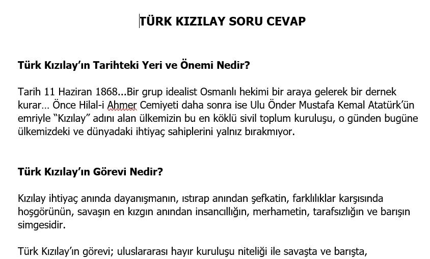 Türk Kızılay Soru Cevap