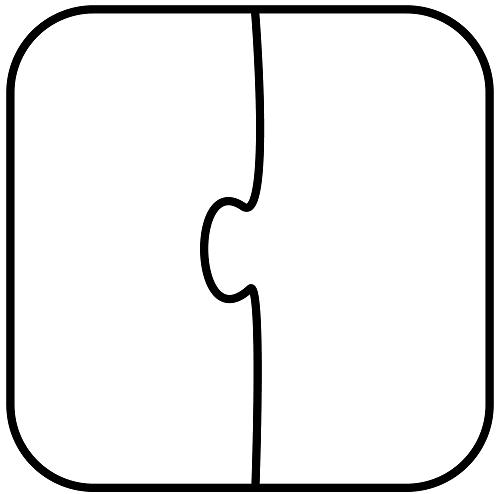 İki Parçalı Yapboz Yazı şablonu