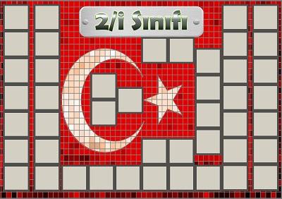 Model 54, 2İ şubesi için Türk bayraklı fotoğraf eklemeli kapı süslemesi - 45 öğrencilik