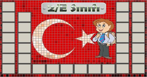 Model 54, 2E şubesi için Türk bayraklı fotoğraf eklemeli kapı süslemesi - 33 öğrencilik