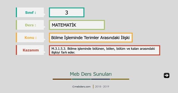 3.Sınıf Matematik Bölme İşleminde Terimler Arasındaki İlişki Sunusu