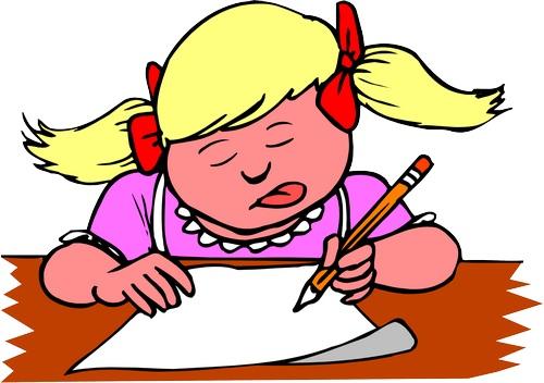 Clipart dili dışarıda yazı yazan kız çocuk resmi png