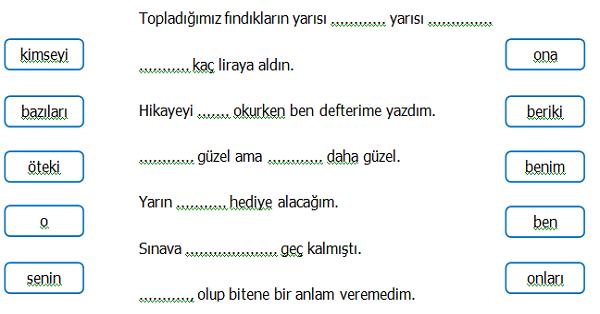 4.Sınıf Türkçe Adıl (Zamir) Etkinliği 3