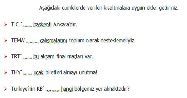4.Sınıf Türkçe Yazım Kuralları (Kısaltmalar) Etkinliği 4