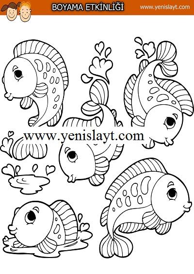 Beş balık boyama etkinliği