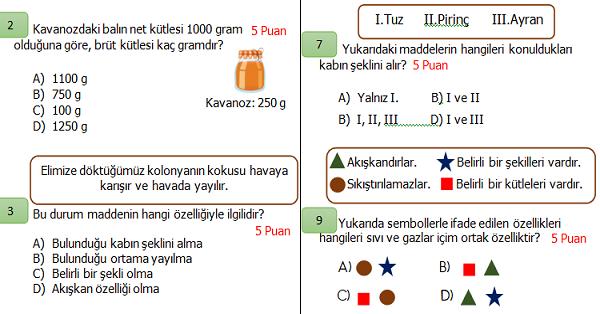 4.Sınıf Fen Bilimleri 2.Dönem 1.Yazılı Sınavı (İkinci Dönem Ağırlıklı)
