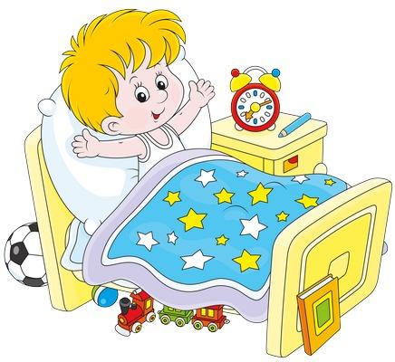 Clipart yatağında uyanmış erkek çocuk resmi png