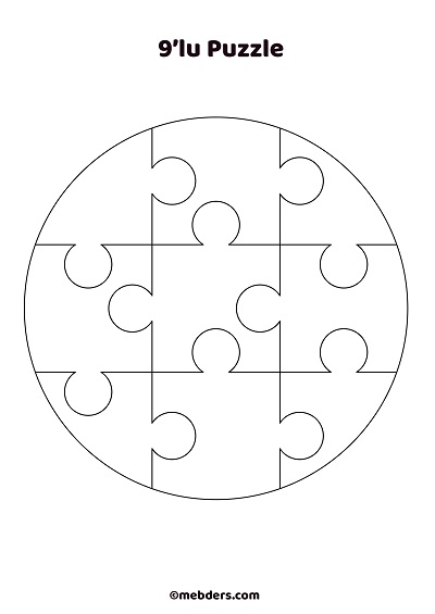 9'lu çember puzzle şablon