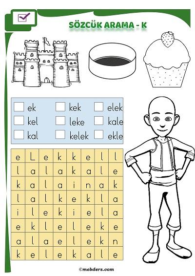 1.Sınıf İlkokuma Boyamalı Sözcük Arama Etkinliği - K Sesi