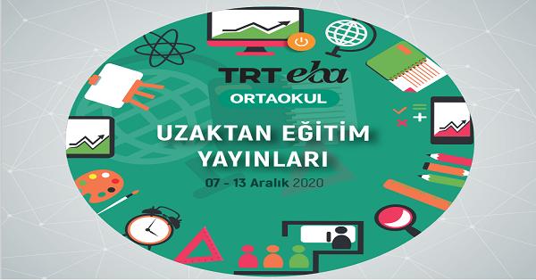 7 Aralık - 13 Aralık Arası EBA TV Ortaokul Yayın Akışı, Dersler, Konular