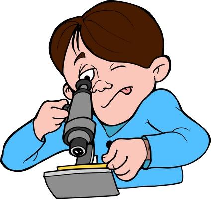 Clipart mikroskopla inceleme yapan erkek çocuk resmi png