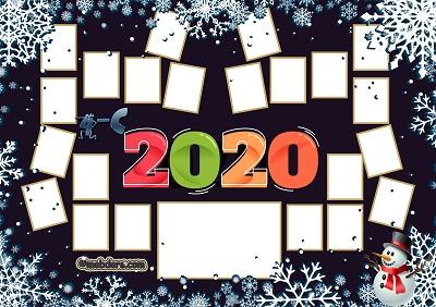 4C Sınıfı için 2020 Yeni Yıl Temalı Fotoğraflı Afiş (22 öğrencilik)