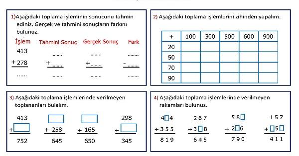 3.Sınıf Matematik 2.Ünite Değerlendirmesi