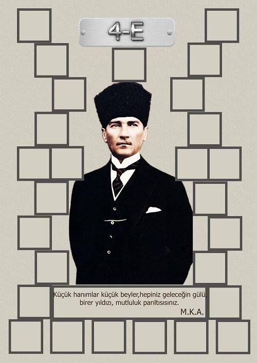 Model 15, 4E şubesi için Atatürk temalı, fotoğraf eklemeli kapı süslemesi - 27 öğrencilik