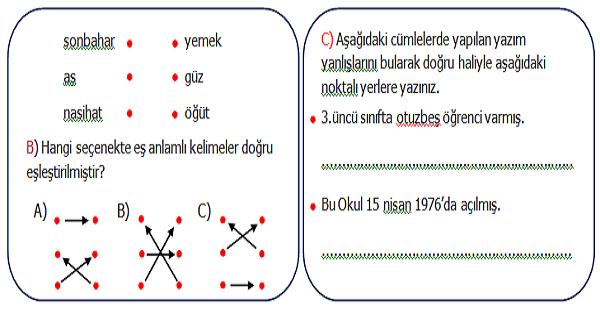 3.Sınıf Türkçe Genel Değerlendirme Etkinliği 3