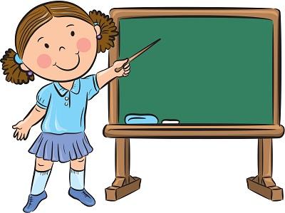 Clipart tahtada sunum yapan kız çocuk resmi png