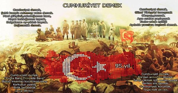95.Yıl Cumhuriyet Demek 50x70cm Poster