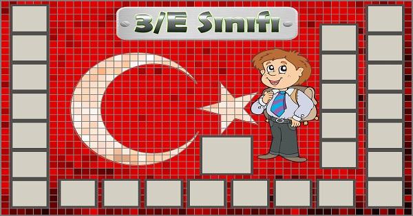 Model 54, 3E şubesi için Türk bayraklı fotoğraf eklemeli kapı süslemesi - 26 öğrencilik