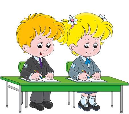 Clipart sırada yazı yazan çocuklar resmi png