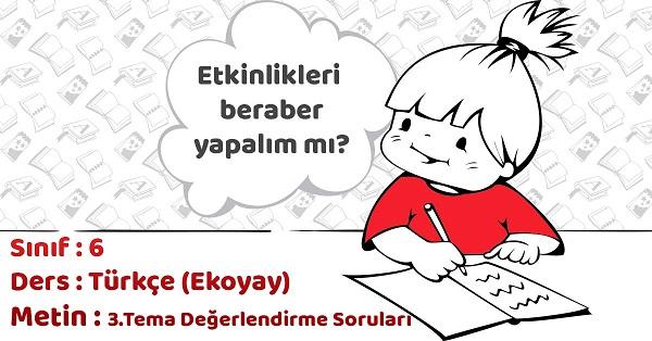 6.Sınıf Türkçe 3.Tema Değerlendirme Soruları Cevapları