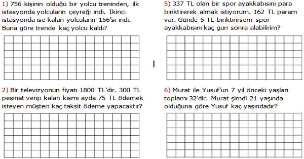 4.Sınıf Matematik Karışık Problemler Etkinliği 1