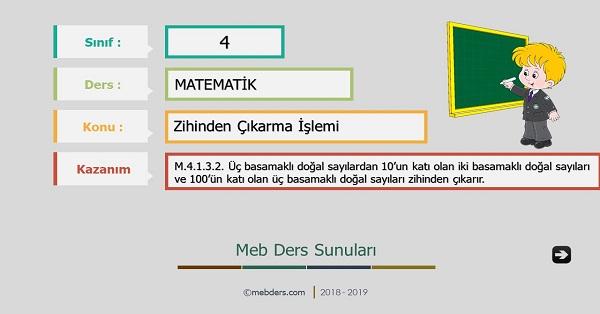 4.Sınıf Matematik Zihinden Çıkarma İşlemi Sunusu