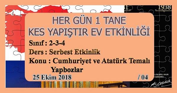 2.Sınıf Günlük Kes Yapıştır Ev Etkinliği - Cumhuriyet ve Atatürk Temalı Yapbozlar