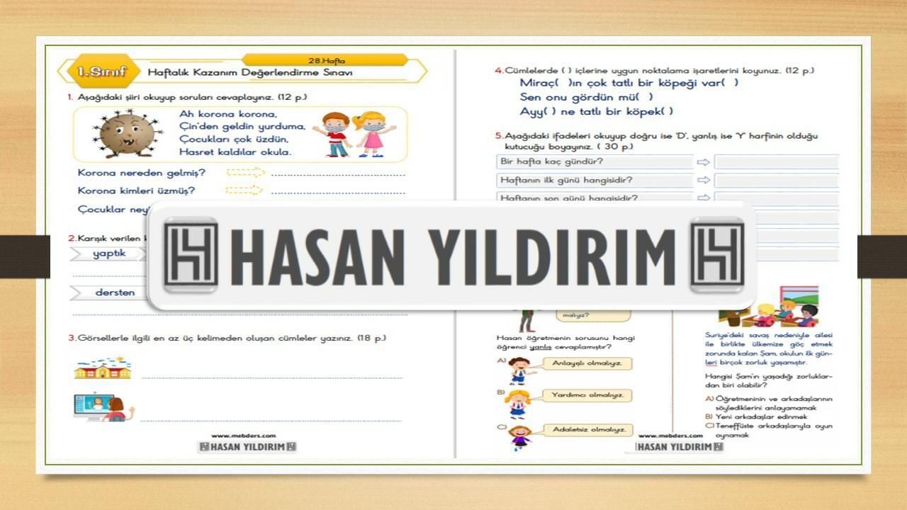 1.Sınıf Haftalık Değerlendirme Sınavı-28.Hafta(26-30 Nisan)