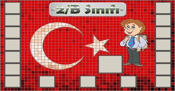 Model 54, 2B şubesi için Türk bayraklı fotoğraf eklemeli kapı süslemesi - 17 öğrencilik