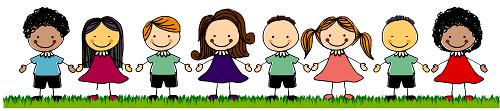 Clipart çim üzerinde el ele tutuşmuş çocuklar