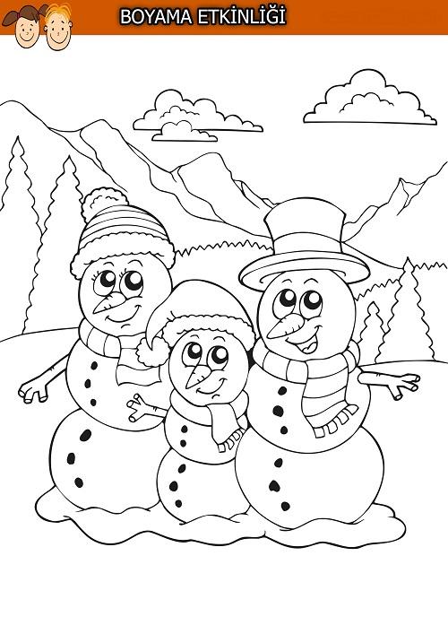 Üç kardan adam boyama etkinliği