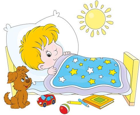 Clipart yatağında uyanmak üzere olan erkek çocuk resmi png