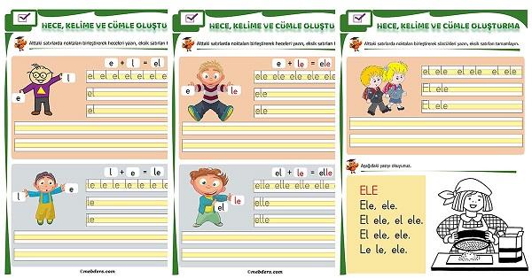 1.Sınıf İlk Okuma L Sesi Birleştirme Etkinliği