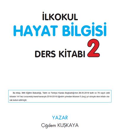 2018-2019 Yılı 2.Sınıf Hayat Bilgisi SDR İpek Yolu Ders Kitabı pdf