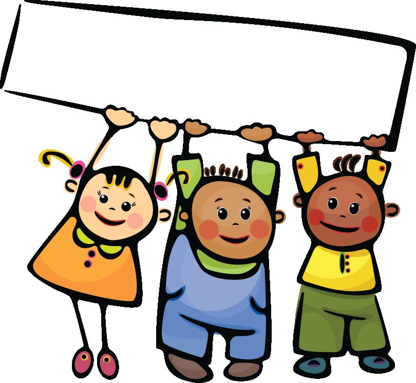 Şeffaf panoya asılı üç çocuk resmi