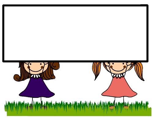 Clipart çerçeveli kız çocukları