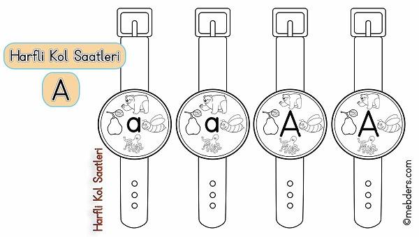 1.Sınıf İlkokuma Harfli Kol Saatleri - A Harfi