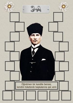 Model 15, 3A şubesi için Atatürk temalı, fotoğraf eklemeli kapı süslemesi - 22 öğrencilik