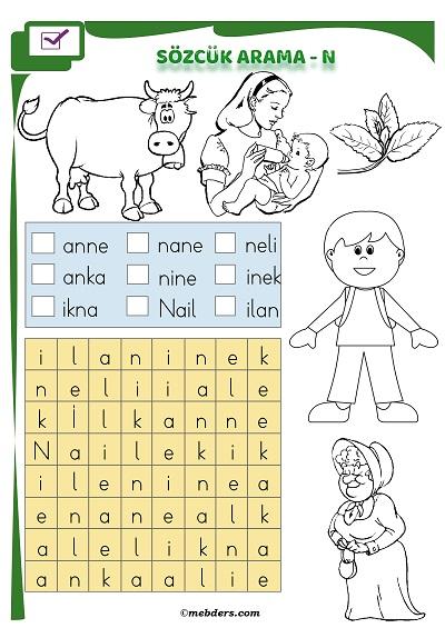 1.Sınıf İlkokuma Boyamalı Sözcük Arama Etkinliği - N Sesi