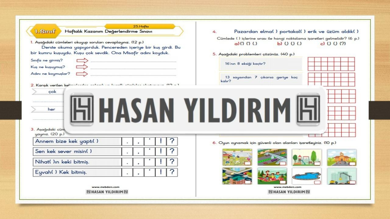 1.Sınıf Haftalık Değerlendirme Sınavı-25.Hafta(5-9 Nisan)