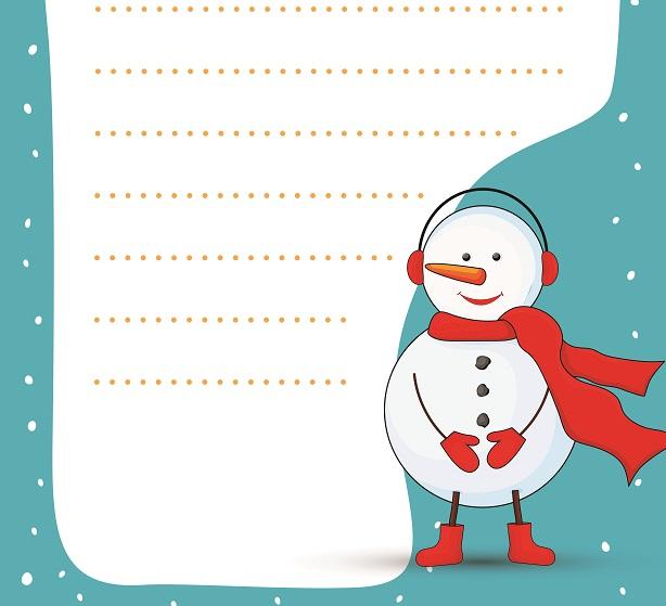 Kardan adamlı yeni yıl yazı şablonu