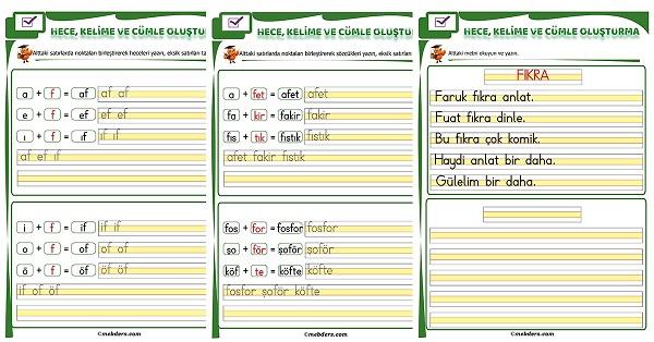 1.Sınıf İlk Okuma F Sesi Birleştirme Etkinliği