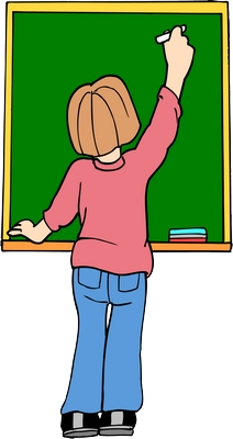 Clipart arkası dönük tahtaya yazan bayan öğretmen png