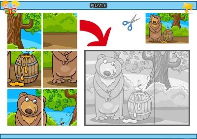 Kes yapıştır ayı ve balı puzzle etkinlik