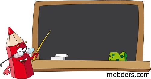Tahtada ders veren sevimli kalem resmi