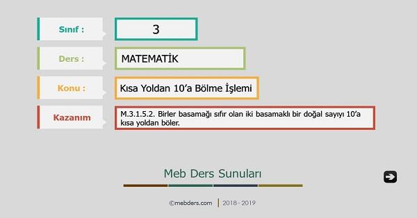 3.Sınıf Matematik 10 İle Kısa Yoldan Bölme İşlemi Sunusu