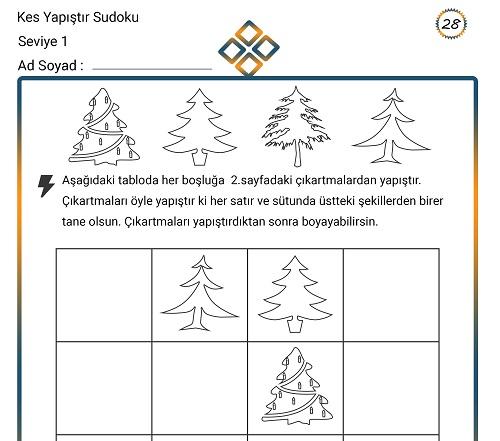 Kes Yapıştır Sudoku Etkinliği 28 (Seviye 1)