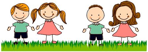 Clipart çim üzerindeki çocuklar