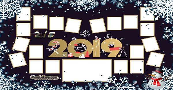 2F Sınıfı için 2019 Yeni Yıl Temalı Fotoğraflı Afiş (20 öğrencilik)